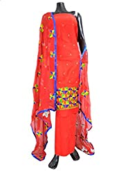 GiftPiper Unstitched Kota Cotton Shadow Work Kurta Dupatta Set-Red