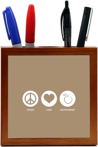 Rikki Knighttm Peace Love Nutritionist Brown Color Design 5 Inch Tile Wooden Tile Pen Holder