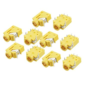 "10 Pcs 1/8"" 3.5mm Stereo Socket Headphone Jack PCB Panel Mount Connector Yellow"
