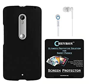 Chevron Rubberized Back Cover Case for Motorola Moto X Play with HD Screen Guard & Chevron 3.5mm Stereo White Earphones (Black)