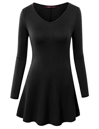 Doublju Women Simple V-Neck Long Sleeve Tunic BLACK,L