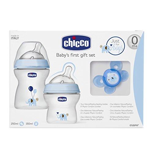 Chicco 00080711620000 Set Regalo NaturalFeeling Biberon per Bambino, Blu