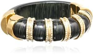 "KARA by Kara Ross Striped Resin, Ebony Resin and Gold with Crystals Bangle Bracelet, 2.25"""