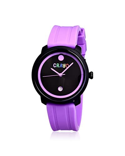 Crayo Women's CR0307 Fresh Fuchsia & Black Rubber Watch