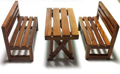 Fairy Mini Garden Furniture Wooden Picnic set
