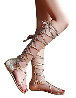 Kattee Women's Comfy Lace Up Flat Knee High Gladiator Sandals Gold