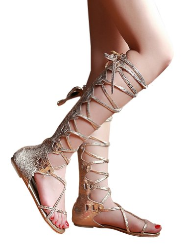 Kattee Women's Comfy Lace Up Flat Knee High Gladiator Sandals Gold Color (5.5) (Greek Goddess Sandals)