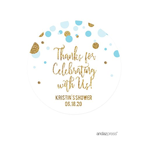 Andaz Press Light Blue Gold Glitter Boy Baby Shower Party Collection, Personalized Round Circle Label Stickers, Thank You for Celebrating With Us, 40-Pack, Custom Name (Personalized Party Stickers compare prices)