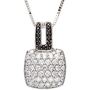 IceCarats Designer Jewelry 14K White Gold Black And White Diamond Necklace