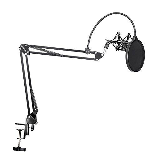 Neewer® NB-35-Braccio a forbice regolabile per microfono con Clip microfono con supporto da tavolo e pinza di fissaggio (B-3) & NW-Filtro anti-Pop per microfono parabrezza per & Metal Mount Kit