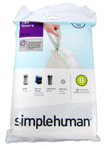 simplehuman Custom Fit Trash Can Liner G, 30 Liters 8 Gallons, 20-Count (Pack of 4)