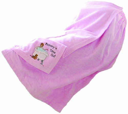 "Lillian Rose 34""x30-67"" Pink Terrycloth Mommy's Time Out Embroidered Bath Wrap"