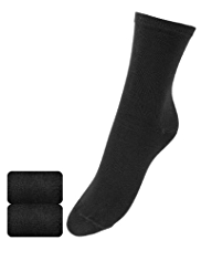 2 Pairs of Freshfeet™ Modal Blend Ankle High Socks with Cashmere & Silver Technology