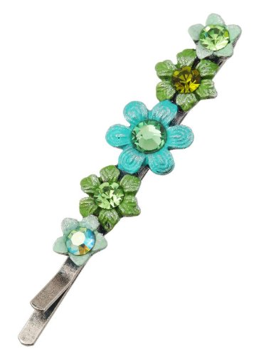 Michal Negrin Silver Coated Hair Pin with well-crafted Hand Painted Flowers and Sparkling Swarovski Crystals - Victorian Style, Made in Israel