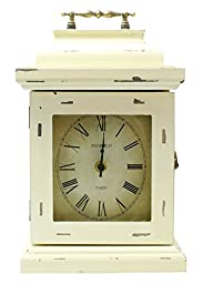 JustNile Rustic Table/Desk Clock with Handle - White with Storage Box