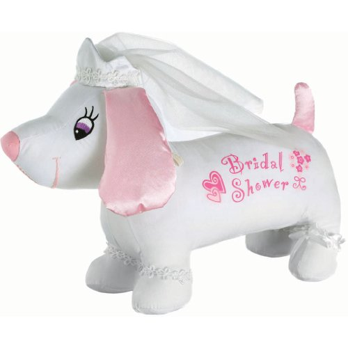 "Amscan Avant Garde Bridal Shower Autograph Plush Hound Party Novelty Favors, 9 x 16"", White/Pink"