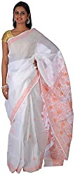 knool Women's Georgette Saree With Unstitched Blouse Piece (White and Peach) (CCSH03)