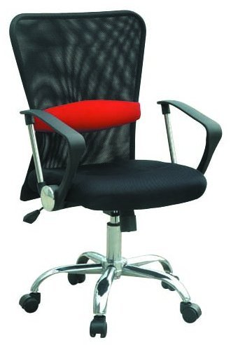 Charles Jacobs Mesh Luxury Executive Business Office Chair in Black w/Red Stripe & Tilt Mechanism