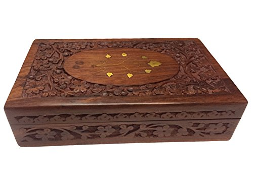 Wooden Vintage Box, Carved Brass Work Jewelry Box 10x6 inch, Jewelry Box,Decorative Box.Vintage Box Gift for Christmas or Birthday