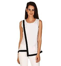 EEIA Women's Slim Fit White Crepe Top (E072s-Large, White, Large)