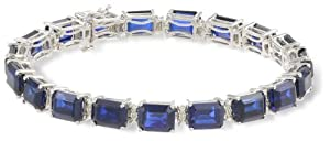Sterling Silver Emerald-Cut Created Blue Sapphire with Diamond-Accent Bracelet, 7.50