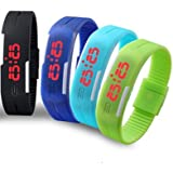 Digital Led Band Watch Set Of 04 -(Color May Very )-Fm