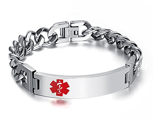 Men's Medical Alert ID Bracelet Tag Stainless Steel Link Chain Wrist (Free Engraving),8 inches (Stainless Steel Medical Bracelet compare prices)