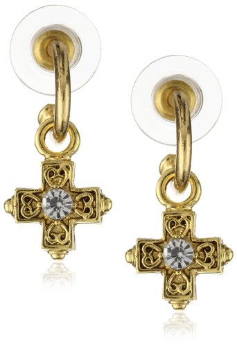 The Vatican Library Collection Delicate Inspirations Cross Earrings