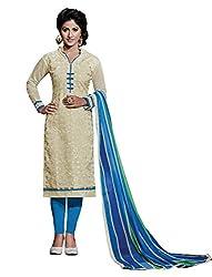 Subhash Sarees Daily Wear Beige Color Chanderi Salwar Suit Dress Material