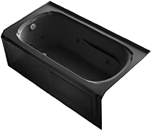KOHLER K-1109-HL-7 Portrait 60-Inch x 32-Inch Alcove Whirlpool Bath with Integral Apron, Tile Flange, Heater and Left-Hand Drain, Black