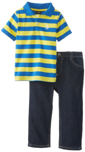 U.S. Polo Assn. Baby-Boys Infant Polo And Denim Jeans Set, Strong Blue, 18 Months front-226241