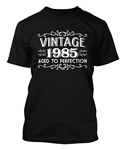 Vintage 1985 Aged To Perfection 30th Birthday Men's T-shirt (Large, BLACK)