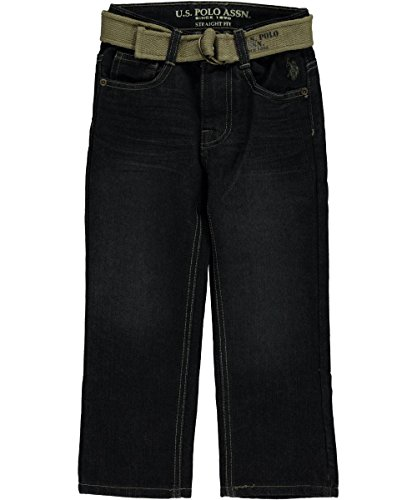 """U.S. Polo Assn. Little Boys' """"Logo Belted"""" Jeans - berkeley wash, 7"""