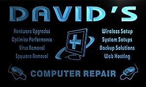 tr006-b David's Computer Laptop Repair Service Display Neon Light Sign Enseigne Lumineuse