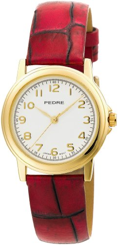 Pedre Women's 0231GX Gold-Tone with Antique Rose Strap Watch