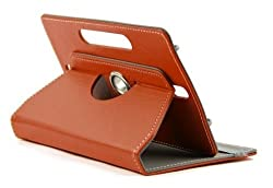 Smart Cover Carry Case For 7 inch Tablet PC With 360 Degree Rotation Tablet Stand And Camera Holes - Brown