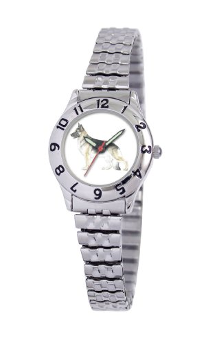 American Kennel Club Women's D1641S244 German Shepherd Silver-Tone Expansion Band Watch