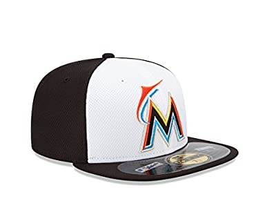 MLB Miami Marlins Men's Authentic Diamond Era 59FIFTY Fitted Cap, 814, White/Black