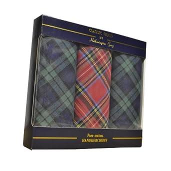 3 Pack Tartan Mens 100% Pure Cotton Handkerchiefs in Gift Pack