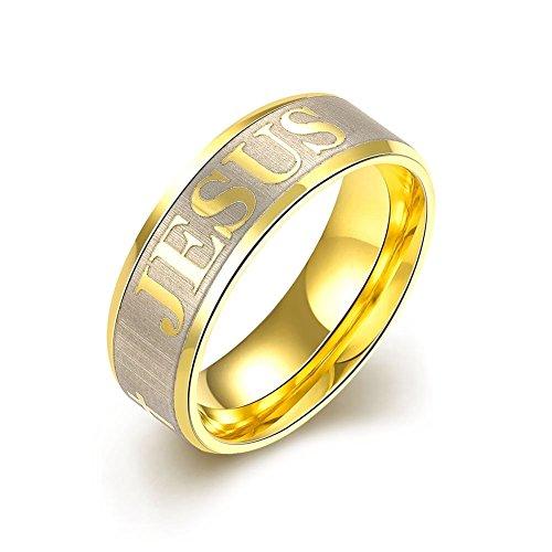 """NYKKOLA placcati in oro, 7 mm, in acciaio INOX """""""" JESUS """""""", in legno intagliato con religioni coinvolte-Anello a fascia da uomo, 7-10, acciaio inossidabile, 61 (19.4), cod. XGTGR006-A-9"""