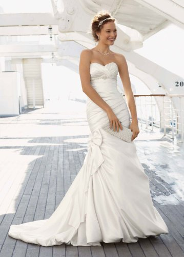 Satin Fit and Flare Wedding Dress with Bow Detail Ivory