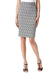 Monochrome Rose Print Knee Length Pencil Skirt