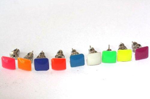 1 paar Emeco ® Klassic Neon Farbe Ohrstecker Ohrringe DH-003 (BLAU PETROL, ECKIG/8MM)