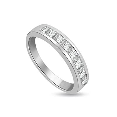 0.45 carat Diamond Half Eternity Ring for Women. H/SI1 Princess Cut Diamonds in Channel Setting in 18ct White Gold