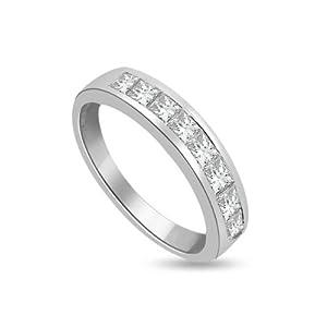 Ladies 0.45ct Half Eternity Diamond Ring with 9 Princess Cut Diamonds colour F & VS1 clarity in 18ct white gold - O
