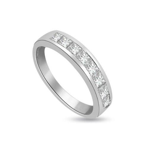 0.45ct F/VS1 Diamond Half Eternity Ring for Women with Princess Cut diamonds in 18ct White Gold