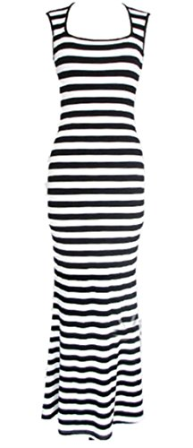 Women Celeb Style Retro Black&White Striped Scoop Neck Party Maxi Long Dress (L)