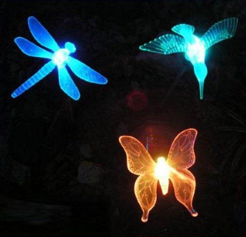 3 Piece Decorative Solar Light Set (Hummingbird, Butterfly & Dragonfly)