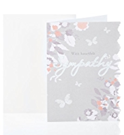 Die Cut Floral Sympathy Greetings Card