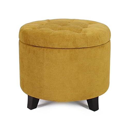 2015 Oct. NEW!! Adeco Microfiber Flannelette Fabric Cushion Round Button Tufted Lift Top Storage Ottoman Footstool, 19-20